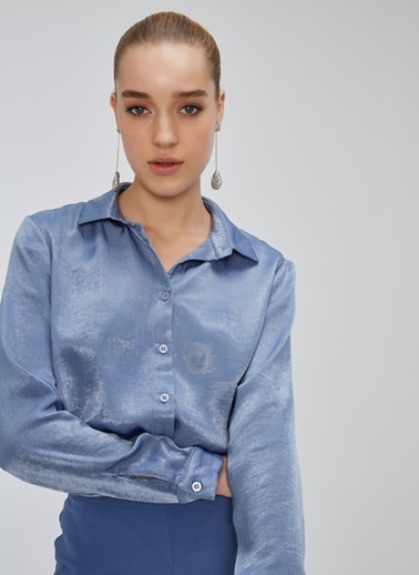 People By Fabrika Saten Dokulu Gömlek Mavi